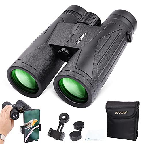 12x42 Prismáticos para adultos, BAK4 lente FMC, a prueba de niebla e impermeable para observación de aves, viajes, caza, conciertos con adaptador para teléfono inteligente y estuche de transporte