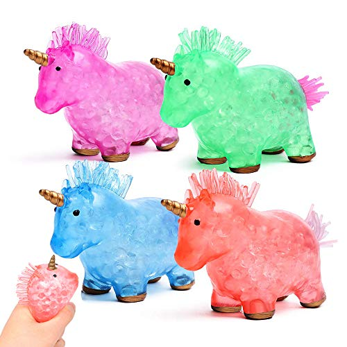 Maikall Rish Unicorn Squishy Stress Relief Toys 4 Pack Hand Squeeze Water Beads Rubber Balls Promote Anxiety Relief Prevent ADHD Autism Novelty Fidget Toys for Kids and Adults