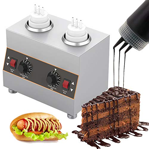 Electric Food Sauce Warmer Heater,Jam Heat Preservation Machine Multifunction Topping Chocolate Butter Cheese Fondue Warmer Cheese Dispenser with Pump Spout Heater for Hot Fudge Cheese Caramel