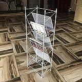 ZHAS Bücherregal 3-lagiges freistehendes Metall-Bücherregal, seitlich hängendes Zeitungsständer-Aktenregal 3 Farben 35 \u0026 Times; 23 \u0026 Times; 100cm (Farbe: Weiß)