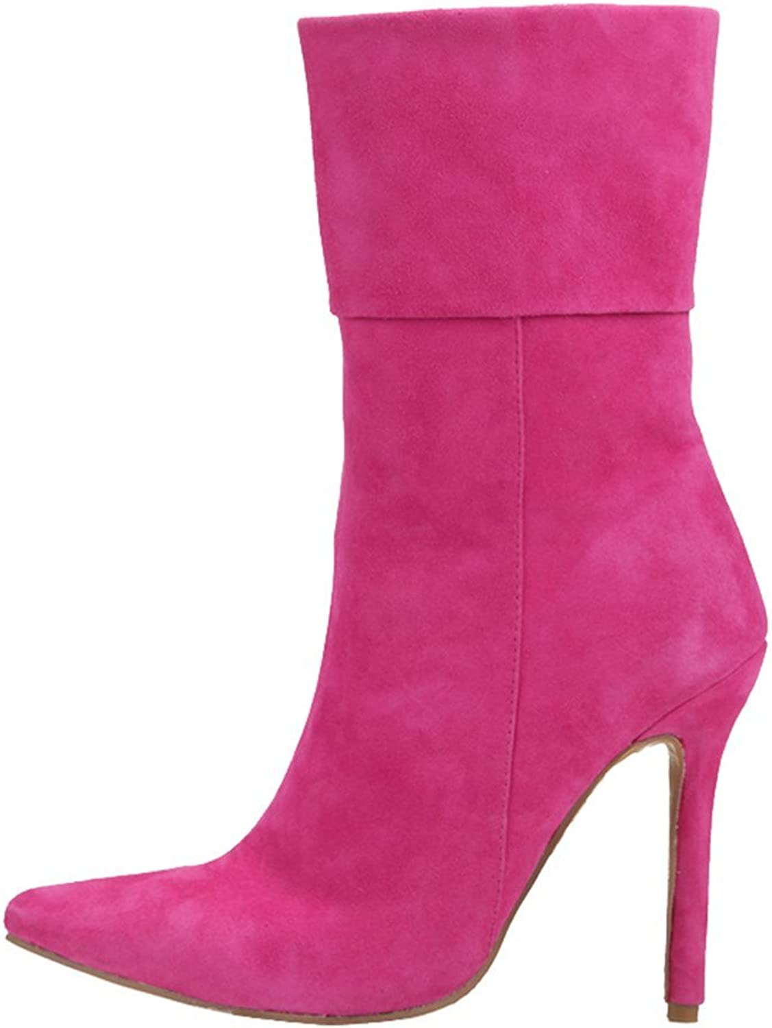 Lacitena Pointed Ankle Boots Ladies Short Boots Fushcia Party Half Boots