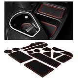 CupHolderHero for Toyota RAV4 Accessories 2013-2018 Premium Custom Interior Non-Slip Anti Dust Cup Holder Inserts, Center Console Liner Mats, Door Pocket Liners 16-pc Set (Red Trim)