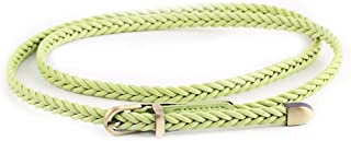 SGJFZD New Hand-Woven Belt Female Pin Buckle Retro Casual Wild Thin Belt Fashionable Waist Rope Decoration 607 (Color : Green, Size : 103cm(Without Buckle))