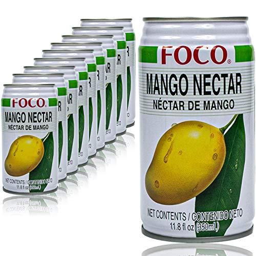 Foco - 10er Pack Mango Drink Saft in 350 ml Dose - Premium Mangosaft Juice (Nektar)
