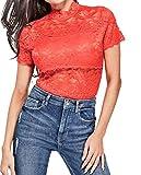Guess - Camiseta de Manga Corta para Mujer - Rojo - Medium