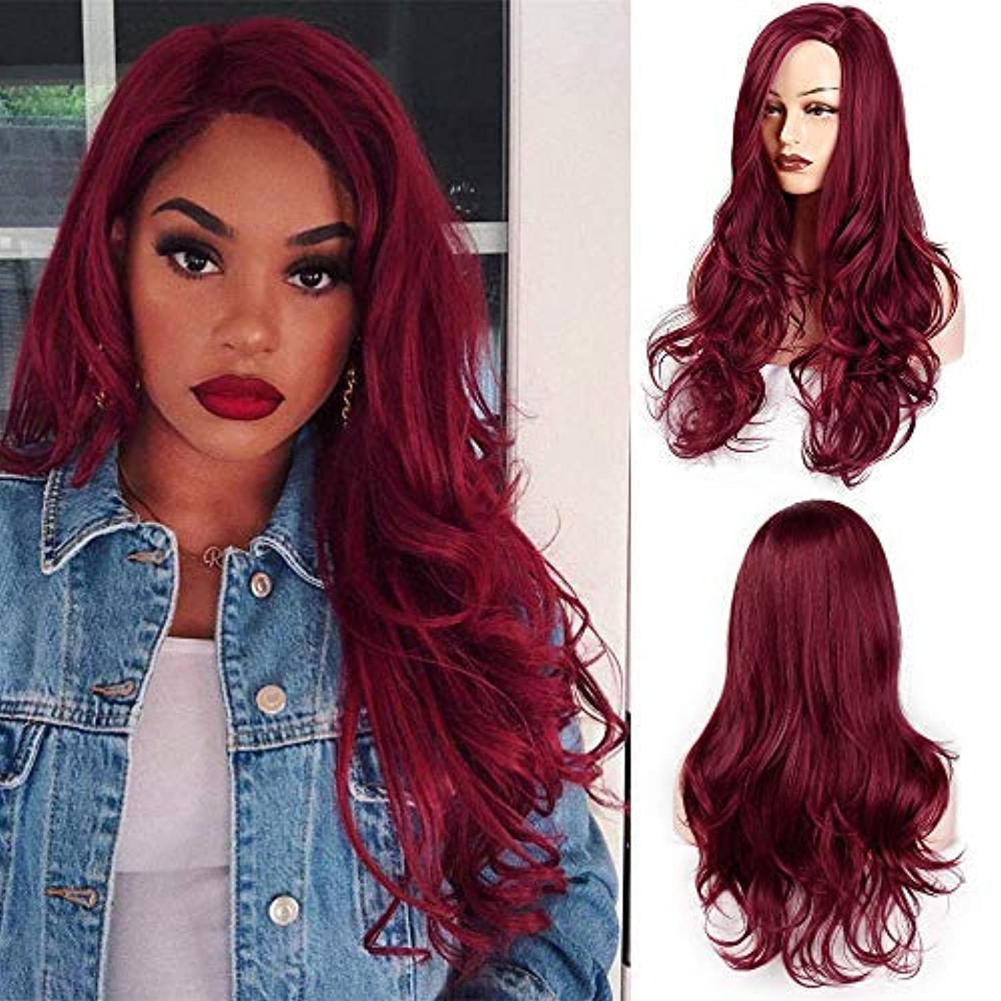 AISI HAIR Auburn Wig Cosplay Long Wavy Red Wig for Women Side Part Heat Resistant Wig Natural Looking Fiber Wig