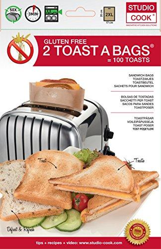 2 Toastbeutel XL Glutenfrei 17 x 20 cm für das Aufbacken, Auftauen und Toasten. Ideal für Allergiker!