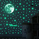 ECHOCUBE 791 Luminoso Pegatinas de Pared Luna Estrellas Hoja de Alfabeto Pegatinas de Pared para Niños Infantil Fluorescente Adhesivos Decoración para Dormitorio, Brillan en la Oscuridad