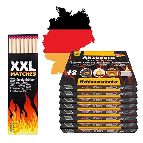 336x Anzündwürfel Kaminanzünder inkl 40 XXL Streichhölzer lang   Grillanzünder Made in Germany   Kohle-Anzünder Würfel für Grill-Kohle BBQ Grill Kamin   ideal zum Grillen und als Ofenanzünder