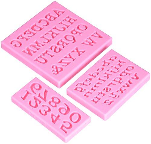 decolordulce sg1850 bakvorm alfabet en cijfers, siliconen, roze, 12 x 12 x 2 cm