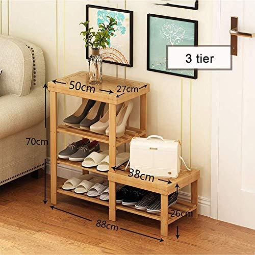 GENFALIN Los estantes for el hogar, la sala del umbral de almacenamiento en rack rack-Shoes Zapatos de madera maciza Gabinete de múltiples capas de bambú Zapatos Banco simple montaje de almacenamiento