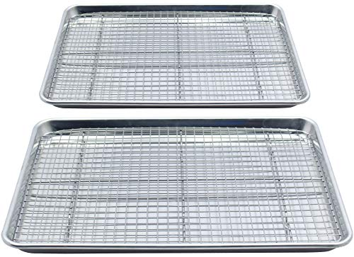 Checkered Chef Stainless Steel Baking Sheets With Racks - Twin Set - 2 Heavy Duty Half Sheet Pans for Baking with 2 Oven Safe Baking/Cooling Racks