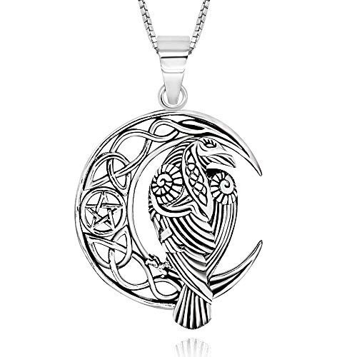 925 Sterling Silver Celtic Crescent Moon Raven Pendant Necklace, 18'