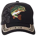 Kiss My Bass Hat - Funny Fishing Fisherman Gift -100% Cotton Embroidered Cap (Black)