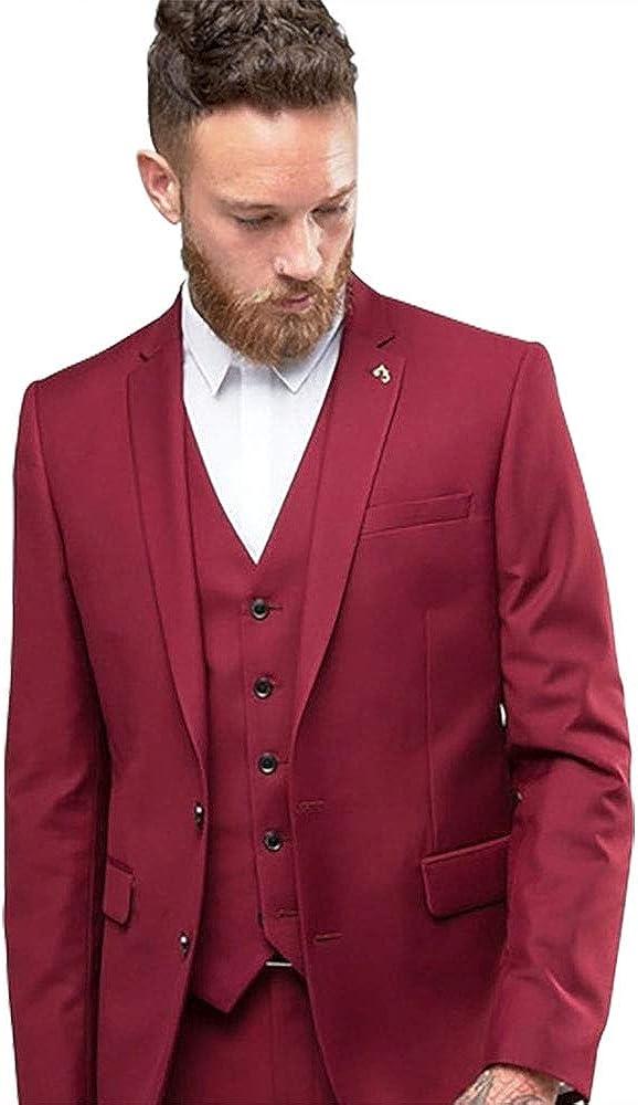 Mens Red 3 Pieces Stylish Slim Fit Tailored Tuxedo (Blazer+Vest+Pant)