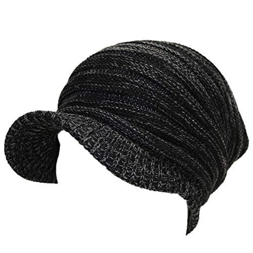 帽子 帽子メンズ ニットキャスッケットプリーツ秋・冬 (大きいサイズ ブラック&グレー)