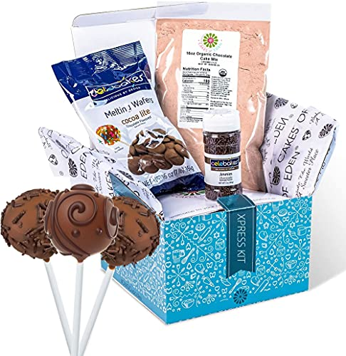 Cake Pop Maker Xpress Kit – Pre-Measured Ingredients. Organic Cake Mix, Candy Melt, Sprinkles. Best cooking and baking teen woman present thought (Chocolate)