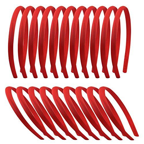 Candygirl 20 Pezzi 10 mm Bambina Ragazze fai da te Fascia per Capelli Rosso in Raso Cerchietti Coperto di Nastro Accessorio dei Capelli