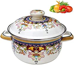 Cooking Pot Enameled, with Lid and Handle Suitable for 1 to 4 People Hand Made for Cooking and Stew Casserole Slow Cooker,...