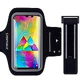PORTHOLIC Schweißfest Sportarmband Handy Fitness für Galaxy S10 A50 Huawei P30 P20 Mate 20 Pro, Schlüsselhalter, Kartensteckplatz, Kopfhörerloch, für Handy Bis zu 6,5