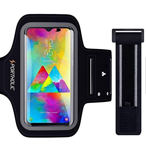 PORTHOLIC Sport Armband Fitness für Huawei P30 Pro Mate 20 Pro Xiaomi 9 Galaxy A50 M20, Schlüsselhalter, Kartensteckplatz, Kopfhörerloch, für Handy Bis zu 6,5 Zoll, für Joggen Radfahren Wandern
