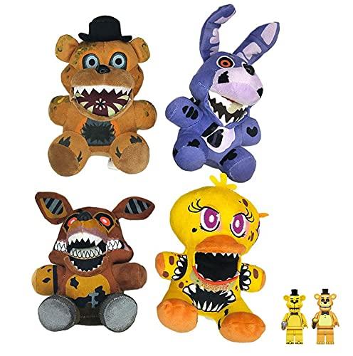 FNAF Plush Toy Set of 4pcs Dolls FNAF Plushies Five Nights at Freddy's FNAF Toy Mutations Freddy Bonnie Chica Foxy, 2 Golden Freddy Figures