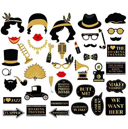 42Pcs 1920s Photo Booth Props Roaring 20's Party Photo Props,1920s Party Supplies for Luxury Party, Speakeasy Party, Gangster Party, Twenties Art Deco Jazz Party