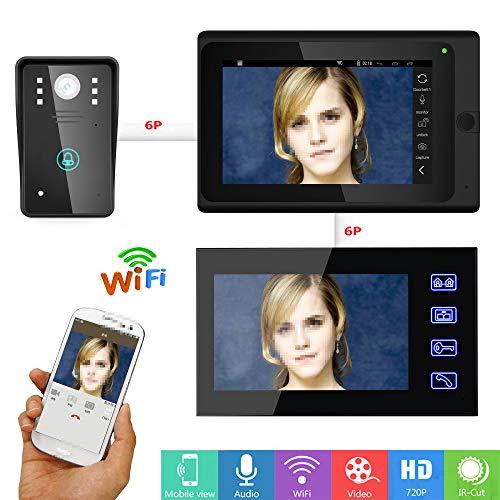 JaidWefj Video Türsprechanlage Türklingel Gegensprechanlage System mit 1 Kamera 2 Monitor/7 Zoll Monitor mit IR-Cut HD 1000TVL CCD Kamera/Nachtsicht