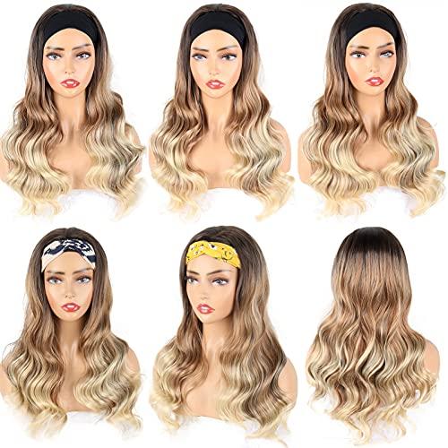 AHURGND Damska peruka żeńska peruka lodowa jedwab włosy, faliste damy peruka do włosów, europejski i amerykański lodowy zespół do włosów, duże faliste długie kręcone włosy, moda bez grzywki
