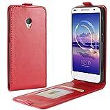 HualuBro Alcatel U5 HD Hülle, Leder Brieftasche Etui Tasche Schutzhülle HandyHülle [Magnetic Closure] Leather Wallet Flip Hülle Cover für Alcatel U5 HD (Rot)