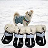 Pet Snow Boots Dog Shoes,Winter Warm Skidproof Sneakers,Dog Paw Protectors with Reflective & Adjustable Strips,Waterproof Wear-Resisting Dog Snow Boots,Cold Weather Pet Outdoor Shoes,Zipper Closure