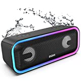 Bluetooth Speakers, DOSS SoundBox Pro+ Wireless Bluetooth Speaker with 24W Impressive Sound, Booming Bass, IPX5 Waterproof, 15Hrs Playtime, Wireless Stereo Pairing, Mixed Colors Lights, 66 FT - Black