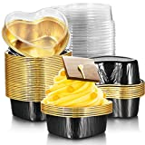 Package information: you will get 40 sets aluminum foil cake pans with lids; Each set includes a pan and a lid, which measures 3.46 x 3.15 x 1.18 inch/ 8.8 x 8 x 3 cm, and lid's height is 1.02 inch/ 2.6 cm, the cup capacity is 3.4 oz/ 100 ml; The lar...
