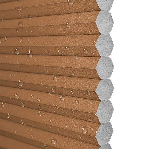 Ababy Estores Enrollable Tamaño Opcional (Ancho 50-90, Alto 60-180), sin Necesidad de taladrar, Aislamiento térmico, Impermeable y a Prueba de Polvo, marrónW900mmxH900mm