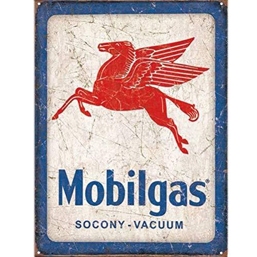 Plaque métallique Rectangulaire Mobilgas 40.5 x 31.5 cm