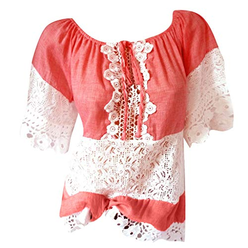 Lowest Price! FengGa Fashion Women Summer Casual Lace Patchwork Elegant Tops Short Sleeve Blouse Loo...