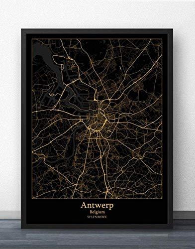 ZWXDMY Leinwand Bild,Belgien Antwerpen Stadtplan Schwarze Und Weiße Minimalistische Text Abstrakten Drucken Wandbild Leinwand Poster Malerei Studie Office Home Einrichtung, 60 × 80 cm