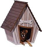 dobar 55012 Hundehütte ,XL Outdoor Hundehaus für große Hunde , Platz für ein Hundebett , Hundehöhle mit Spitzdach , 90x77x109 cm , 14kg Holzhütte , entfernbarer Boden | Farbe: braun/grau - 2