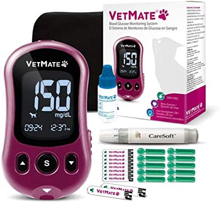 VetMate Dogs Cats Diabetes Management Starter KIT Pet Blood Glucose Monitoring Kit with Control product image