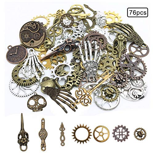 Quantity: Includes 76 ornaments of different shapes, such as gears, skulls, musical notes, skull hands, safety pins, and owls. Material: These antique jewelry accessories are made of high-quality metal, completely lead-free, sturdy and durable. Color...