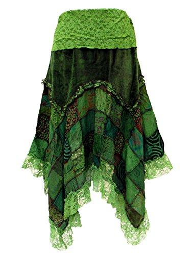 Dark Dreams Gothic Witchy Fairy Pagan Rock Zipfel Pixie Elfe Skirt Samt Spitze Patchwork Ethno Zahide 38 40 42 44 46 48 50, Farbe:grün, Größe:XXL