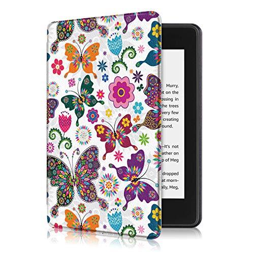 Eono by Amazon SlimShell Funda para Kindle Paperwhite 4 (10.ª generación, 2018) - Carcasa Fina y Ligera de Cuero Sintético con Auto-Sueño/Estela, Mariposa