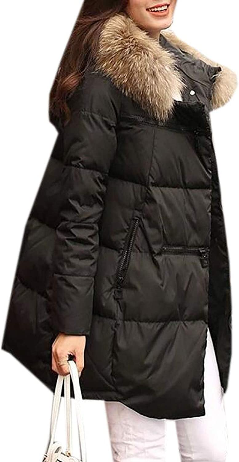 MU2M Women Winter Quilted Thick Parka Anorak Warm Faux Fur Hooded Puffer Down Jacket Black US XXS