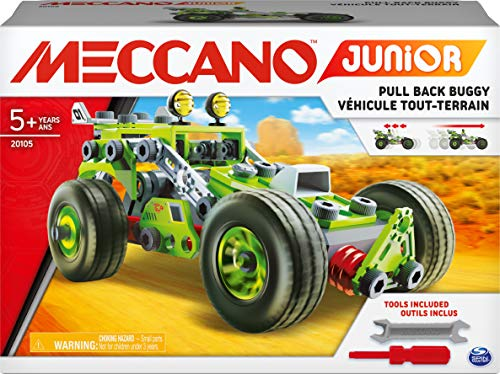 MECCANO 6055133, 3-in-1 Deluxe Pull-Back Buggy STEAM Model Building Kit, for Kids Aged 5 and Up Junior, 3-in-1-Deluxe-Buggy-Modellbausatz, für Kinder ab 5 Jahren, grau