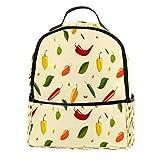 Mochila AITAI de cuero PU con patrones de chile al aire libre de la escuela de la universidad de la mochila para hombre y mujer