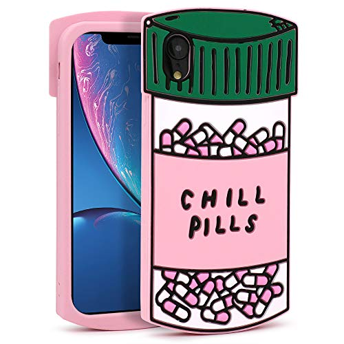 YONOCOSTA iPhone XR Case, Funny Cute 3D Cartoon Chill Pills Capsule Bottle Shaped Soft Silicone Shockproof Back Cover Cases for Kids Girls Women Children