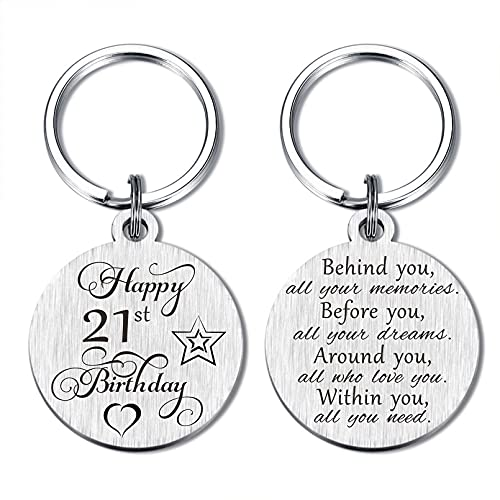 21st Birthday Keychain Gifts for Women Men, Happy 21 Year Old Birthday Presents for Girls