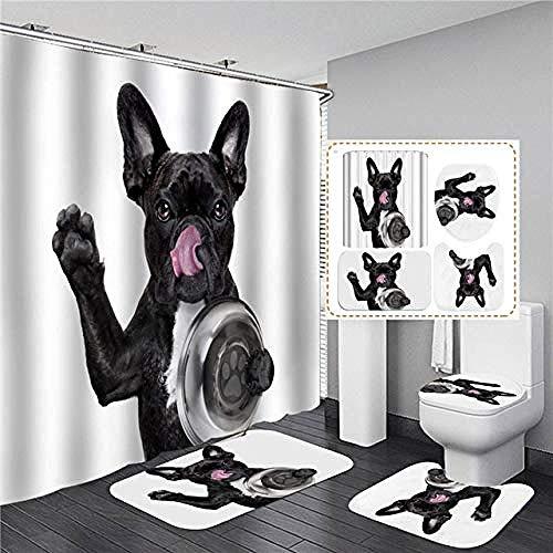 AETTP Niedlicher Duschvorhang mit Animal-Print Wasserdichter Badvorhang Sets Weiche Badematte Set Anti-Rutsch-Flanell Teppiche Wohnkultur 180x180cm