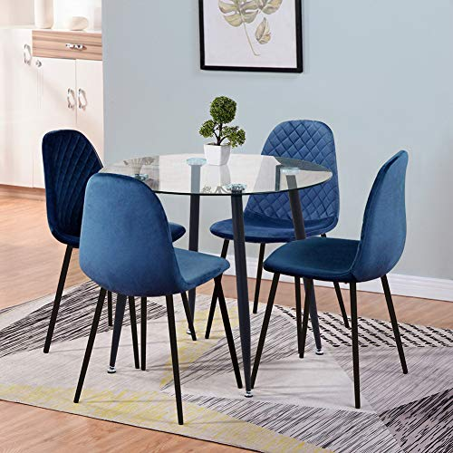 GOLDFAN Round Glass Dining Table and 4 Chairs Wood Style Kitchen Table and Velvet Chairs Dining Room Set, 90cm, Blue
