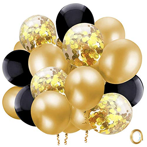 Black Gold Confetti Latex Balloons, 50 Pack 12 inch Gold Metallic Party Balloons with 33 Feet Gold Ribbon for Kids Party Graduation Birthday Party Decorations.